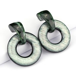 Green marble acrylic earrings